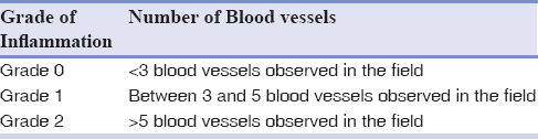 Table 3: Different grades of the quantity of blood vessels in microscopic fields with ×10 magnification
